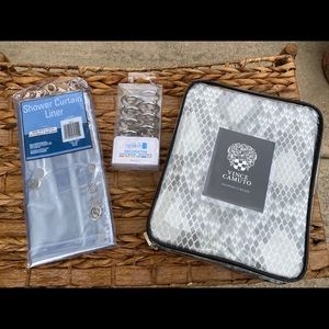 Vince Camuto Shower Curtain with hooks & liner NWT